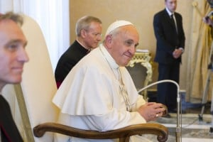 Pictured is a photo of Pope Francis listening to a speech made by the UN Secretary-General when Ban Ki-moon visited Vatican City, Rome in May 2014. UN Photo/Eskinder Debebe