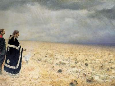 Vasily Vereshchagin. Defeated. Requiem (1879).