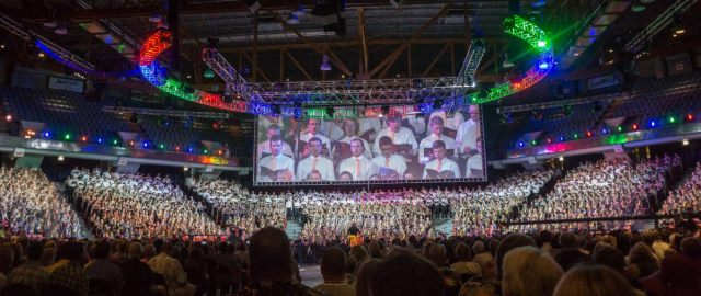Pictured is a striking panoramic image taken by Lithuanian-American photographer Algis Norvila at the 2015 Lithuanian Song Festival in Chicago. Photo: Algis Norvila