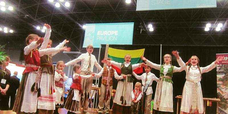 "Shown here during a cultural performance at The 2016 New York Times Travel Show is the Lithuanian children's group ""Spindulėlis"" (Little Sun Rays) under the direction of Violeta Kundrotienė. ""Spindulėlis"" is a Lithuanian instrumental-vocal-dance group and part of Violeta's Music Studio. Photo: Ann Charles."