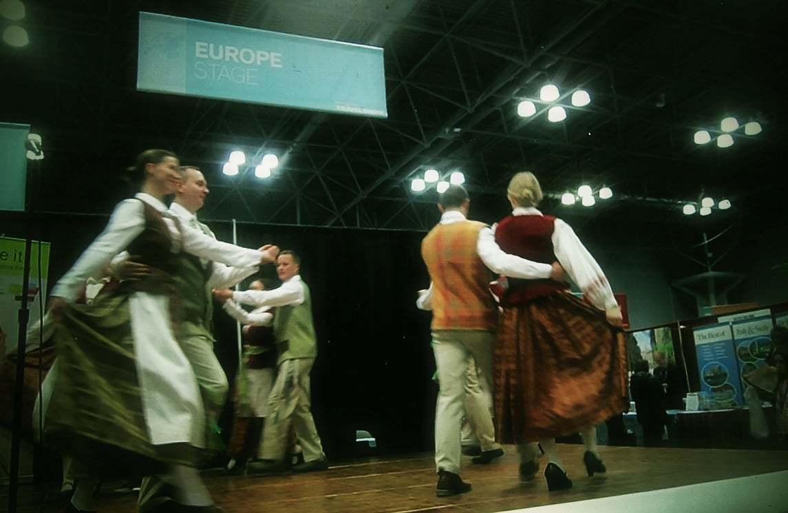"Shown here folk dancing on the Europe cultural stage at The 2016 New York Times Travel Show too was ""Viesulas"" or Whirlwind from New Jersey. Their performance was presented on stage by the Office of the Consulate General of the Republic of Lithuania in New York under Julius Pranevičius, Lithuanian Consul General, in cooperation with Via Hansa Tours. Photo: Ann Charles"