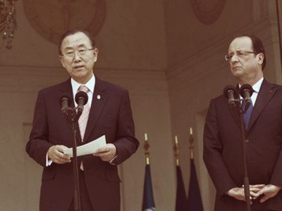 Shown here is UN Secretary-General Ban Ki-moon on the left with President of France, Francois Hollande on the right , during a meeting at UN Headquarters in New York. The terrorist attack on July 14 in Nice was condemned by the Secretary-General. UN Photo/Evan Schneider