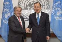 Pictured here is UN Secretary-General Ban Ki-moon on the right during a meeting with Antonio Guterres, who will become the next Secretary=General of the United Nations starting on January l, 2017. UN Photo/Eskinder Debebe