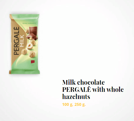 Milk chocolate PERGALĖ with whole hazelnuts