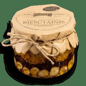 Honey-nuts dessert RIEŠUTAINIS with hard cheese DŽIUGAS and cranberries