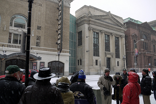 Tour group at the Hippodrome Theatre, West Side Walking Tour