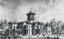 Watercolor illustration of Guilford Mansion. Courtesy the Charles Hall Abell Family Album/Guilford Association.