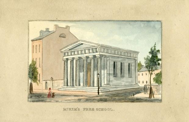 Illustration of McKim's Free School from J.H.B. Latrobe's Picture of Baltimore. JScholarship.