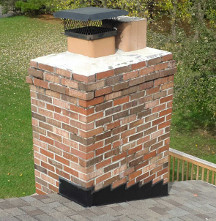 Typical brick chimney with a clay flue liner