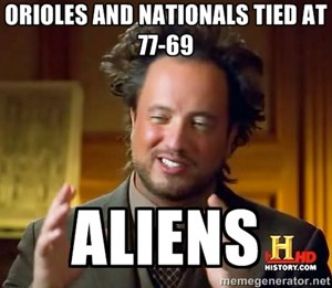 Orioles and Nationals tied at 77-69