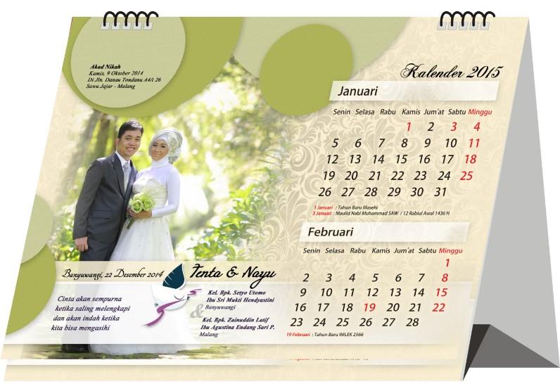 desain undangan pernikahan model kalender