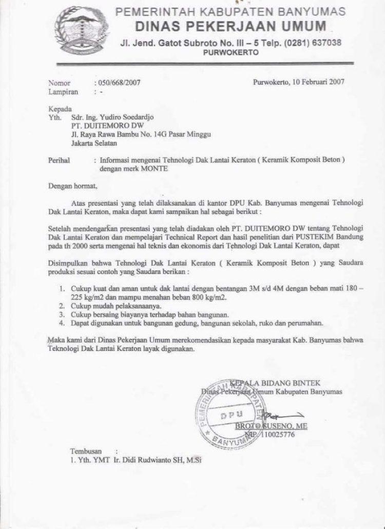 contoh surat dinas dari pemerintah yang benar