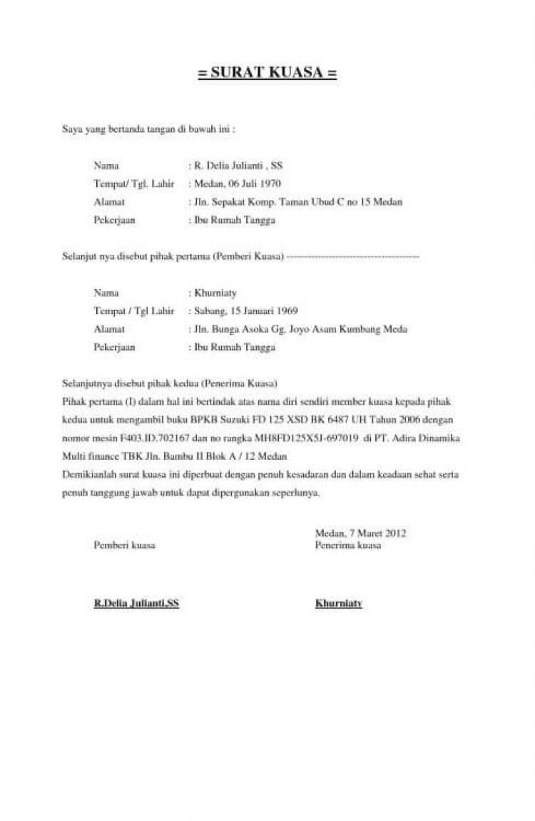 contoh surat kuasa pengambilan bpkb yang benar