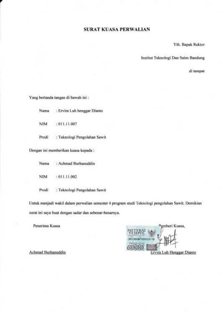 contoh surat kuasa perwakilan perwalian studi