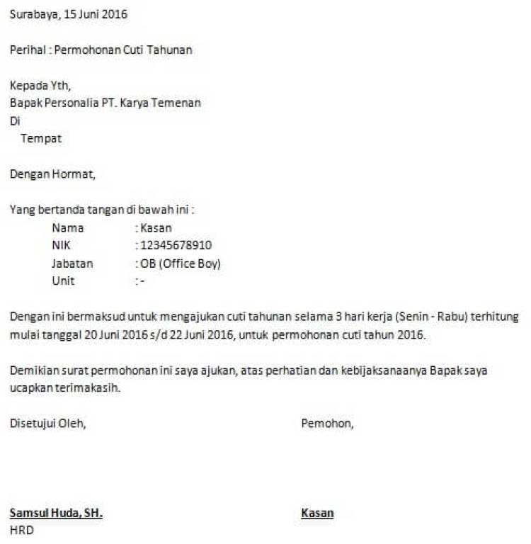 contoh surat izin kerja