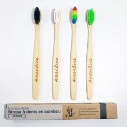 4 brosses à dents en bambou avec emballage