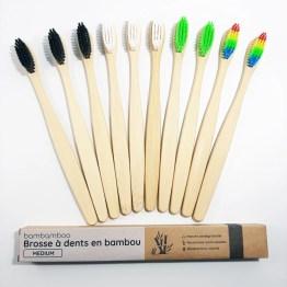 10 brosses à dents en bambou avec emballage