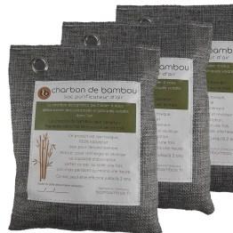 trois sacs désodorisant charbon de bambou