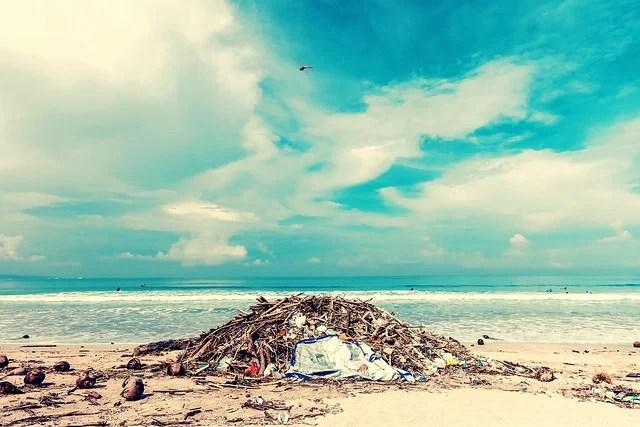 dechets plastiques sur une plage