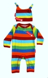Toby Tiger multi coloured sleepsuit and hat gift set