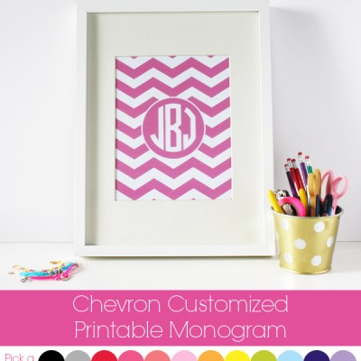 Chevron Customised Printable Monogram