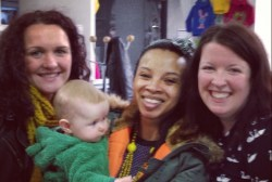 Claire, baby Kitty, Nat, and Lu at the Bubble tradeshow Jan 2013