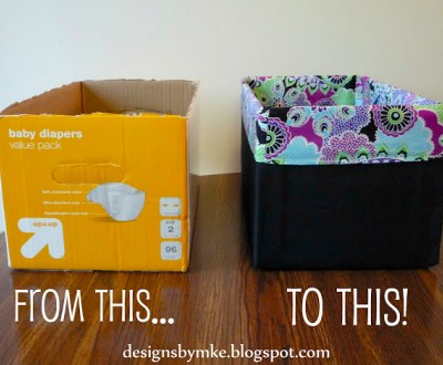 Make Your Own: Upcycle boxes into fabric covered storage bins