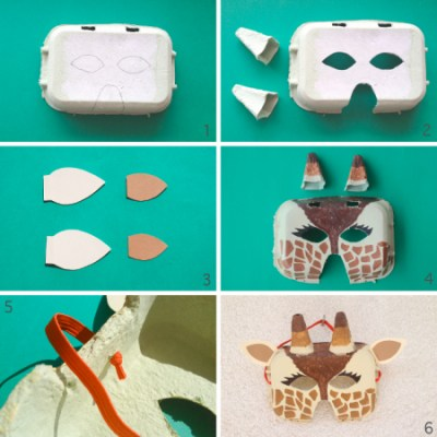 Make your own giraffe mask out of an egg box