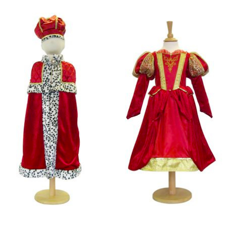 Medieval queen and king with crown dressing up outfits