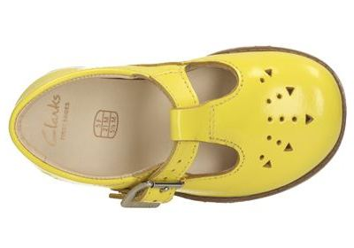 Hot on the high street: Clarks yellow t-bar shoes