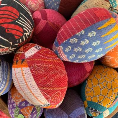 Upcycled Kantha Rugby Balls