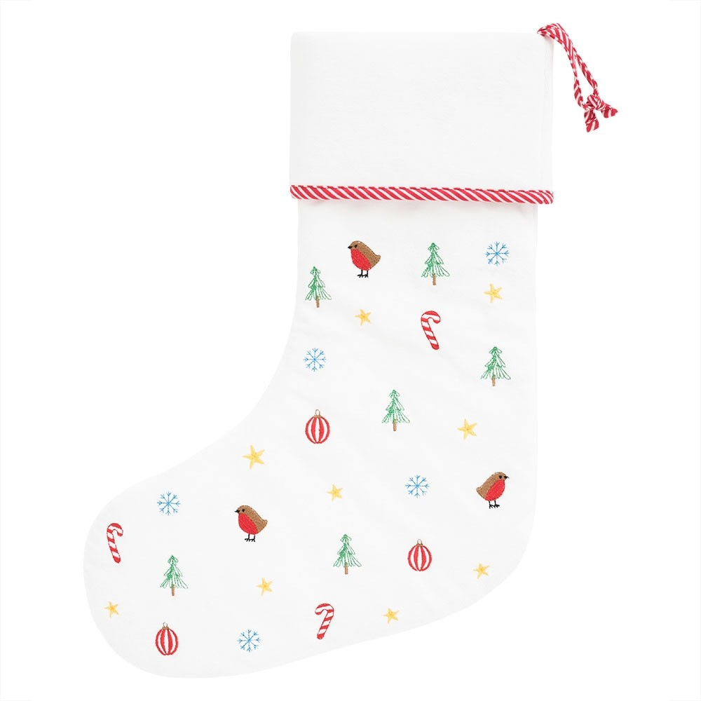 Embroidered Christmas stocking, £15, Jojo Maman Bebe