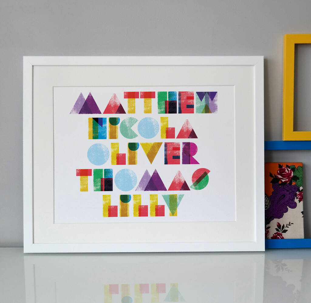 Typographic Family Names Print, £26, Pepper Print Shop