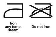 simboli lavaggio - ferro da stiro
