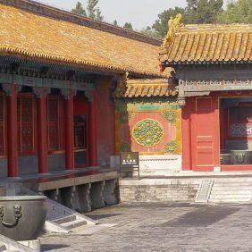 Rote Mauern udn gelbe Dächer in der Verbotenen Stadt