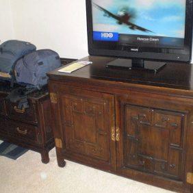 2009, mein Rucksack in einem schönen Hotel in Datong