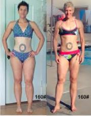 Before and after photo of 160lb woman
