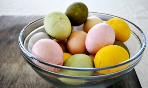 Naturally Dyed Easter Eggs In Glass Bowl