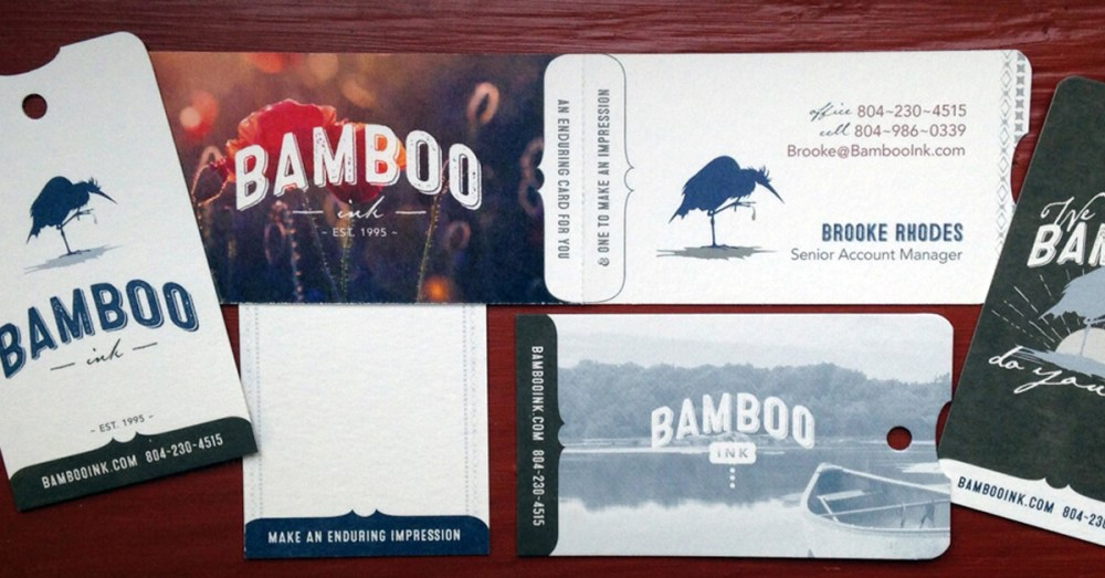 BambooInk business cards printed on bamboo paper