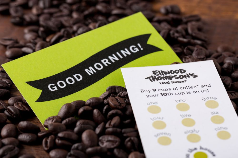 Customer loyalty cards as part of Ellwood Thompson's marketing materials