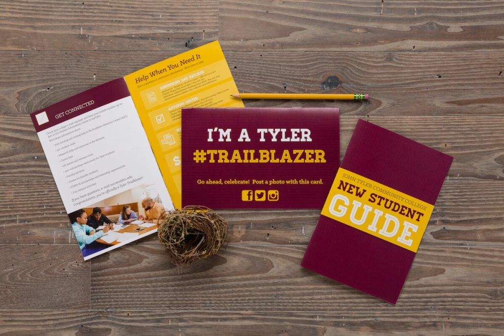 marketing materials for John Tyler Community College, manual, self-mailer, and booklet