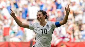 epa04833028 Carli Lloyd of the United States celebrates her third goal of the first half during the FIFA Women's World Cup 2015 Final match between USA and Japan in Vancouver, Canada, 05 July 2015. EPA/Bob Frid EDITORIAL USE ONLE, NOT USED IN ASSOCATION WITH ANY COMMERCUIAL ENTITY - IMAGES MUST NOT BE USED IN ANY FORM OF ALERT OR PUSH SERVICE OF ANY KIND INCLUDING VIA MOBILE ALERT SERVICES, DOWNLOADS TO MOBILE DEVICES OR MMS MESSAGING