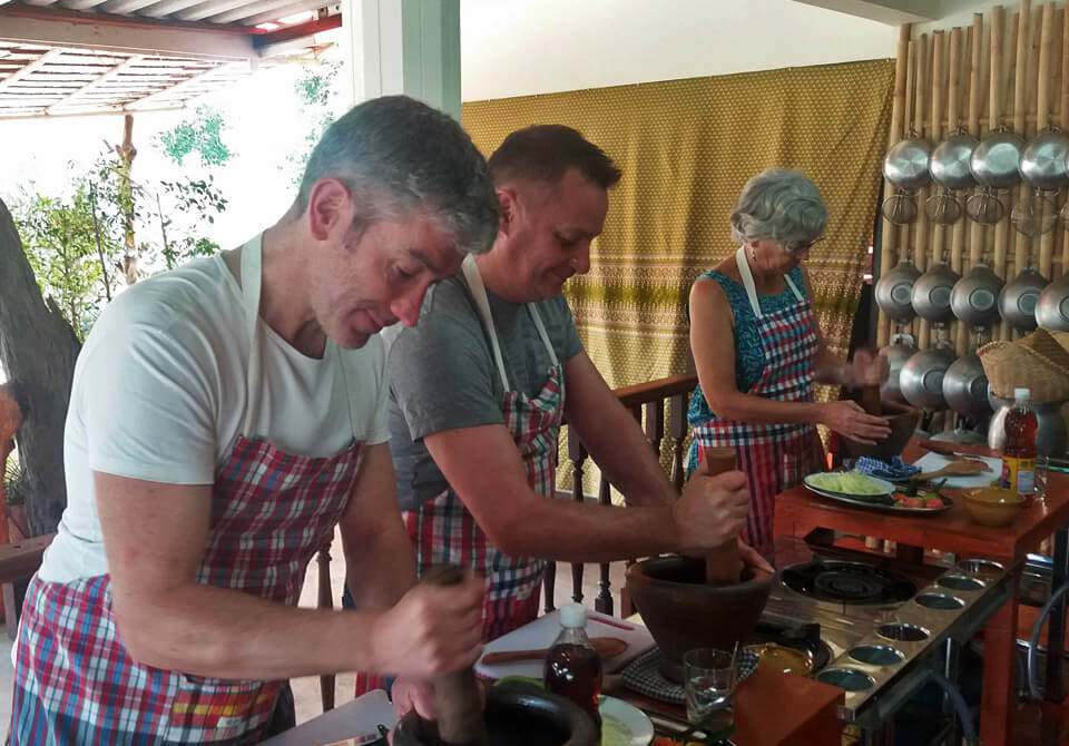 Making Curry Paste Bamboo Thai Cooking Class