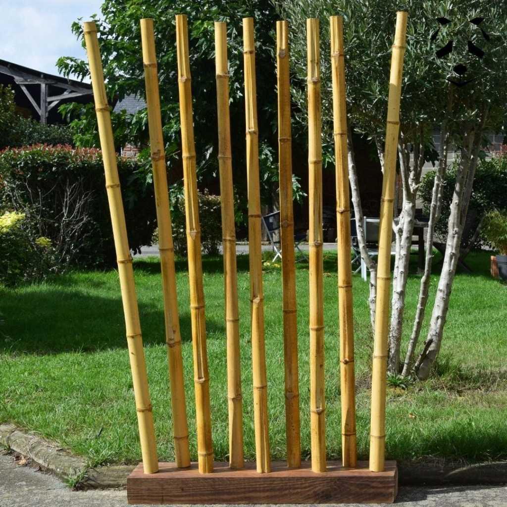 Paravent bambou et bois naturel extérieur-min