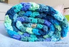 rolled up granny stripe blanket