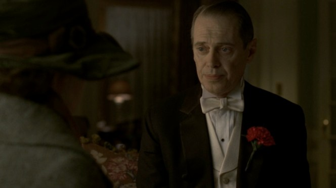 Don't forget the red carnation in your lapel! Both the real Nucky and Buscemi's character never left home without it.