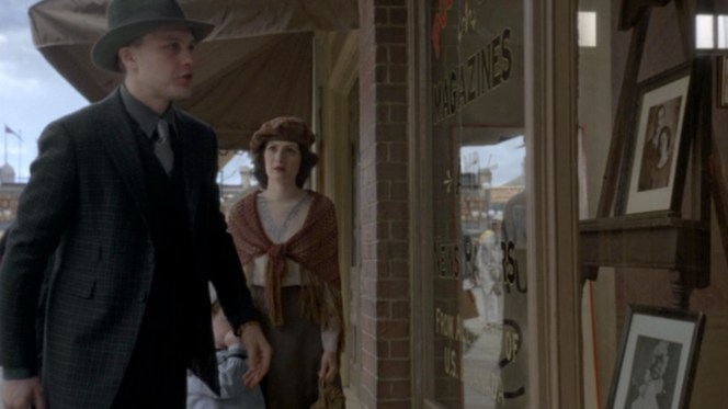 In scenes on the boardwalk, Jimmy's blue suit appears muted to a more neutral, duller gray. This may just be the lighting, or it may be the effects of the blue-screen CGI used to create the actual boardwalk. Thoughts?