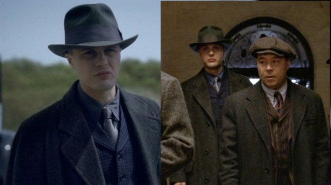 Jimmy's manlier and more mature outerwear contrast with Capone's boyish cap.