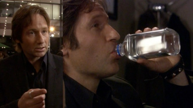 Even Hank Moody drinks water sometimes.