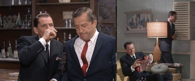 Even after a night out drinking, a barfight, and running, Sinatra's suit and tie still look as good at the end of the night as they did when he started it.
